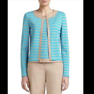 St. John striped Milano knit jacket leather trim
